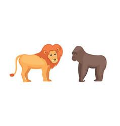 Gorilla monkey and lion savanna animals in cartoon vector