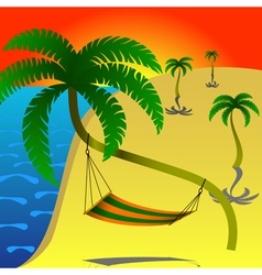 Hammock on palm vector