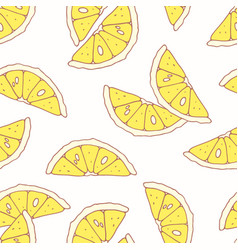Hand drawn seamless pattern with lemon vector