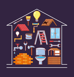 Home repair with tools set icons vector