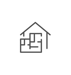 House blueprint line icon vector