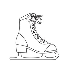 Ice skates line art drawing on white background vector image