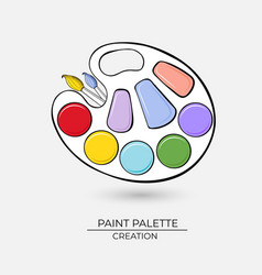 icon artistic palette for paints with brushes on vector image