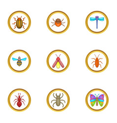 Insect icons set cartoon style vector