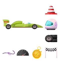 isolated object of car and rally logo set of car vector image