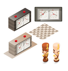 Isometric cartoon chess pieces and control clock vector