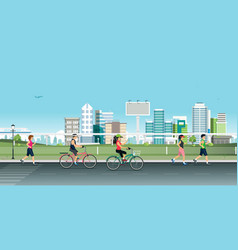 jogging in the city vector image