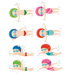 Kids doing different swimming strokes vector