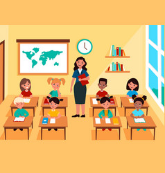 kids with teacher in classroom multinational vector image