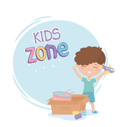 Kids zone cute little boy with plane and box with vector
