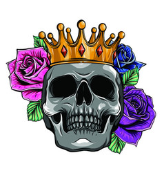 king death portrait a skull with a crown vector image