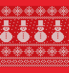 knit christmas design with snowmen and snowflakes vector image