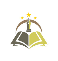 Knowledge book pen education logo vector