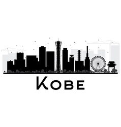 Kobe City skyline black and white silhouette vector