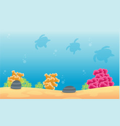Landscape of reef and tuetle silhouette vector