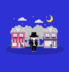 little boy wearing suit and black top hat on vector image