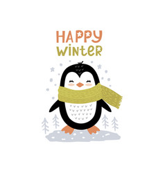 little penguin scandinavian vector image