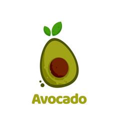 Logo avocado flat color style vector
