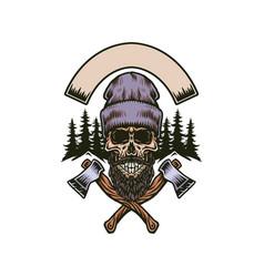 lumberjack bearded skull with two axes vector image
