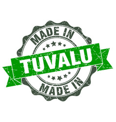 made in tuvalu round seal vector image