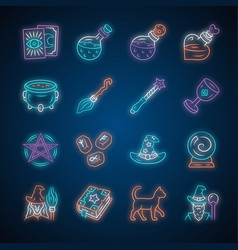 Magic neon light icons set witchcraft sorcery vector