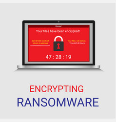 Malware encrypted file in computer ransomware vector