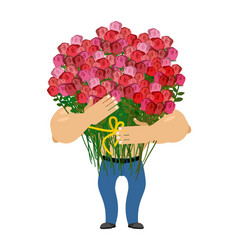 Man and big bouquet of roses guy congratulates vector