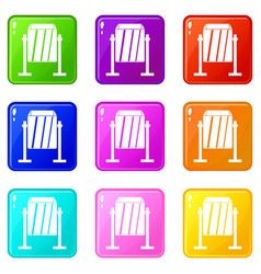 Metal dust bin icons 9 set vector