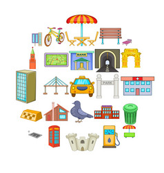 Metropolis icons set cartoon style vector