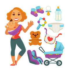 mother holding baby near newborn things set on vector image