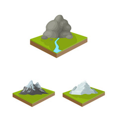 Mountains massive cartoon icons in set collection vector