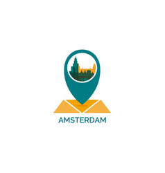 netherlands amsterdam map pin icon vector image