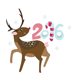 New Years invitation with happy Rudolph deer vector