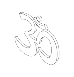 Om sign isometric 3d vector