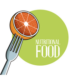 Orange nutritional food fork image poster vector