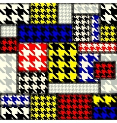 Patchwork with houndstooth pattern in retro style vector