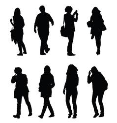 People walking silhouette set one vector