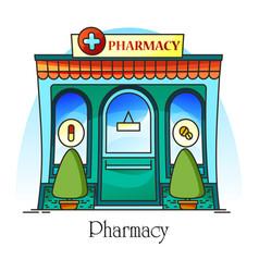 Pharmacy shop facade or clinic drug store vector