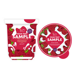 Raspberry yogurt packaging design template vector