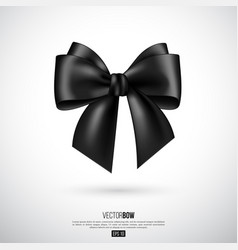 realistic black bow and ribbon vector image