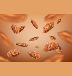 realistic flying almonds background template vector image