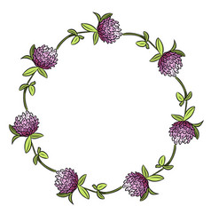 red clover botanical wreath ornament vector image