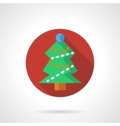 Red round icon for Xmas tree vector image