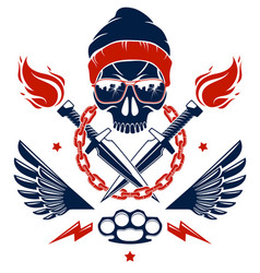 Revolution and riot wicked emblem or logo vector