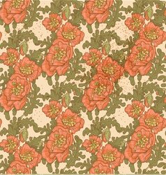 seamless pattern vintage decorative red poppies vector image