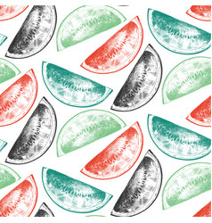seamless pattern with hand drawn fruits in vector image