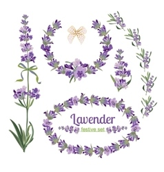 Set festive frames and elements with lavender vector