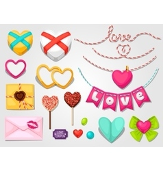 set hearts objects decorations can be used vector image