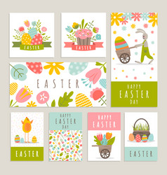 set of cards on the easter theme vector image