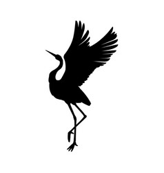 Silhouette or black ink symbol a crane bird or vector
